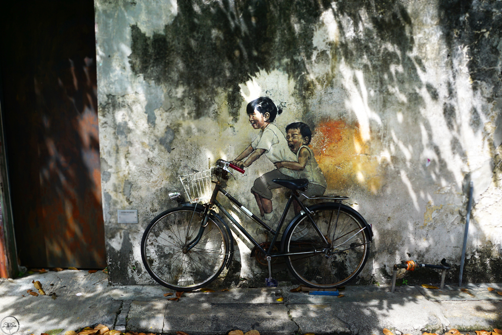 Penang Street Art, Little Children on a Bicycle Mural, Armenian Street