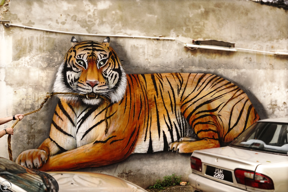 The Tiger Mural, Street Art, Penang