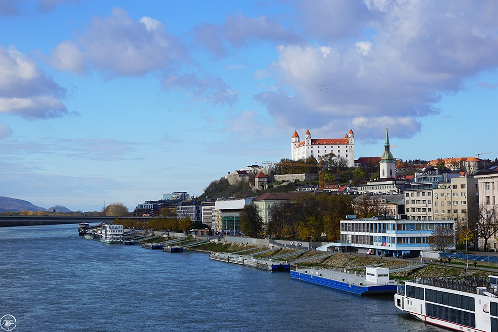 View over the Castle from Stary Most in Bratislava
